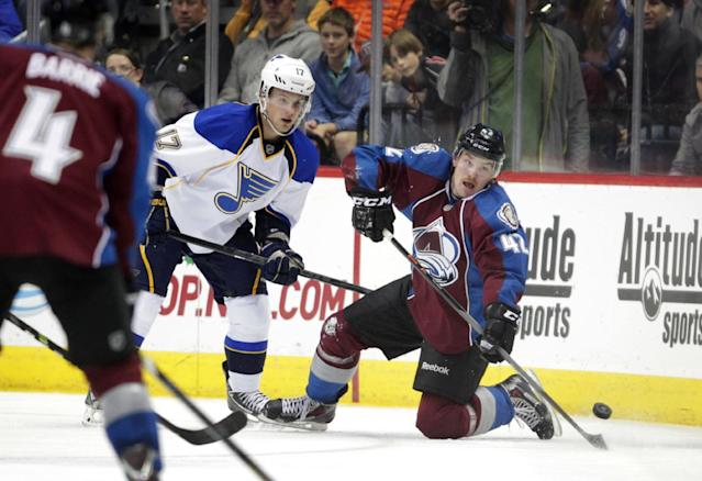 Colorado Avalanche center Brad Malone (42) looks to pass against St. Louis Blues center Vladimir Sobotka (17) during the second period of an NHL hockey game in Denver, Wednesday, Nov. 27, 2013. (AP Photo/Joe Mahoney)