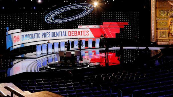 PHOTO: Crews prepare the stage for the second Democratic 2020 presidential candidates debate in Detroit, Mich., July 30, 2019. (Lucas Jackson/Reuters)