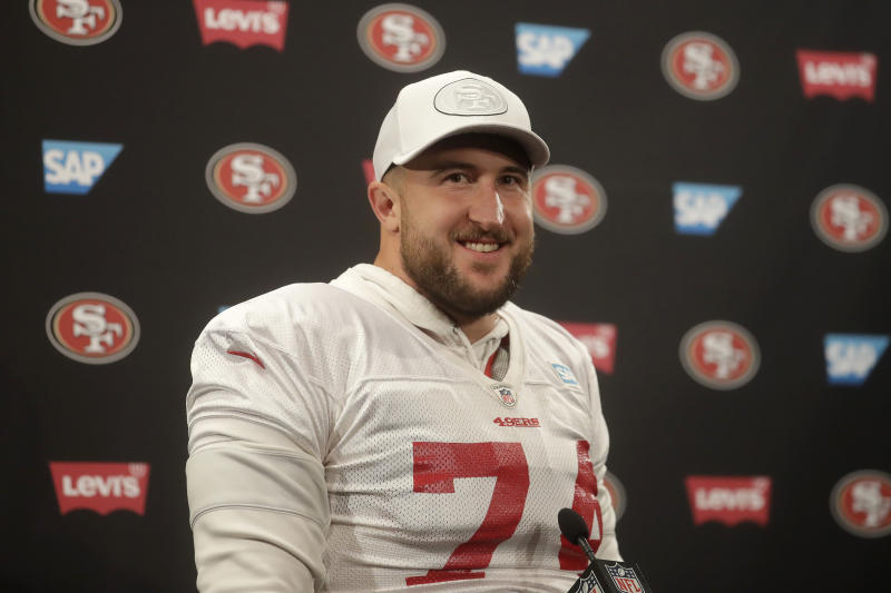 San Francisco 49ers offensive tackle Joe Staley speaks during a news conference at the team's NFL football training facility in Santa Clara, Calif., Thursday, Jan. 23, 2020. The 49ers will face the Kansas City Chiefs in Super Bowl 54. (AP Photo/Jeff Chiu)