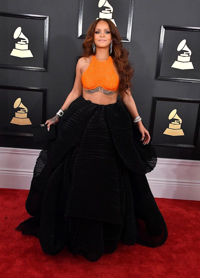 LOS ANGELES, CA - FEBRUARY 12: Singer Rihanna attends The 59th GRAMMY Awards at STAPLES Center on February 12, 2017 in Los Angeles, California. (Photo by Steve Granitz/WireImage)