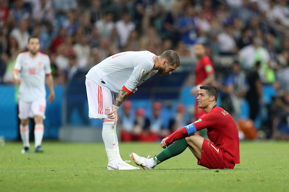 Sergio Ramos and Spain held on for a draw against Cristiano Ronaldo and Portugal. (Getty)