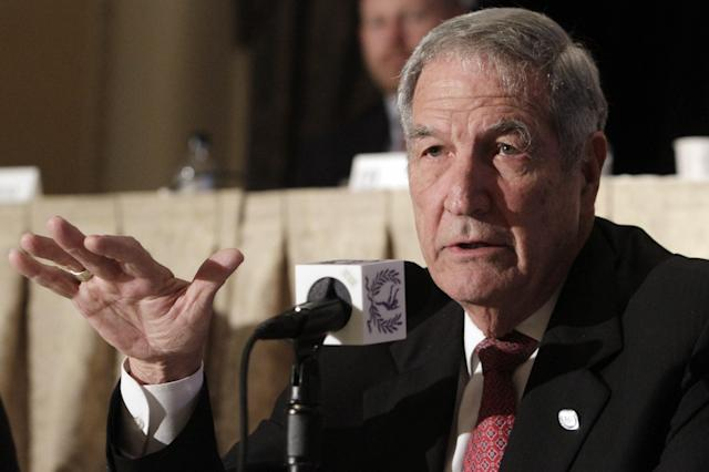 Gene Stallings, former coach of Texas A&M and University of Alabama football teams, addresses a news conference for the 2010 National Football Foundation and College Hall of Fame Awards, in New York, Tuesday, Dec. 7, 2010. Stallings is a member of the 2010 College Football Hall of Fame class. (AP Photo/Richard Drew)