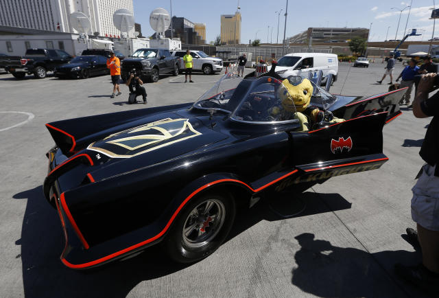 Chance, the Vegas Golden Knights mascot, arrives in a Batmobile prior to Game 2 of the NHL hockey Stanley Cup Finals between the Vegas Golden Knights and the Washington Capitals on Wednesday, May 30, 2018, in Las Vegas. (AP Photo/Ross D. Franklin)