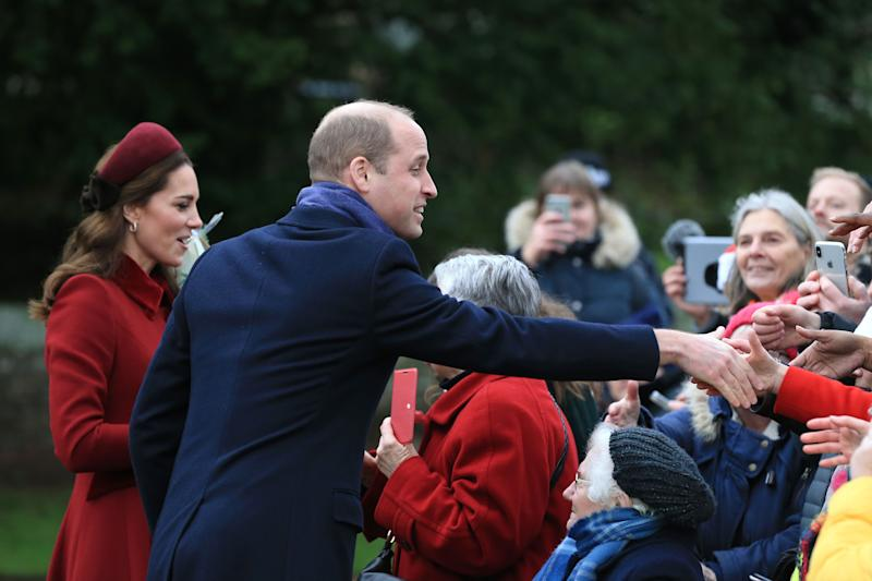 Kate Middleton and Prince William greet the public