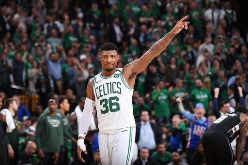 BOSTON, MA - APRIL 24: Marcus Smart #36 of the Boston Celtics reacts against the Milwaukee Bucks Game Five of Round One of the 2018 NBA Playoffs on April 24, 2018 at the TD Garden in Boston, Massachusetts. (Photo by Brian Babineau/NBAE via Getty Images)