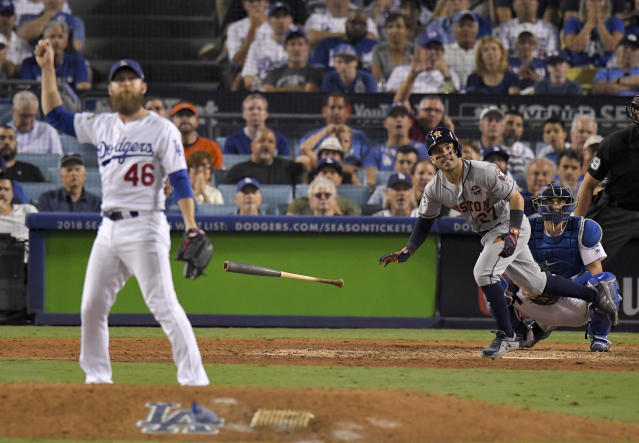 <p>Houston Astros' Jose Altuve celebrates after a home run off Los Angeles Dodgers relief pitcher Josh Fields during the 10th inning of Game 2 of baseball's World Series Wednesday, Oct. 25, 2017, in Los Angeles. (AP Photo/Mark J. Terrill) </p>