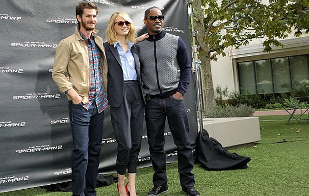 """The Amazing Spider-Man 2"" stars Andrew Garfield, Emma Stone, Jamie Foxx and film director Mark Webb will be in Singapore to kick off this year's Earth Hour next month. (Getty Images)"