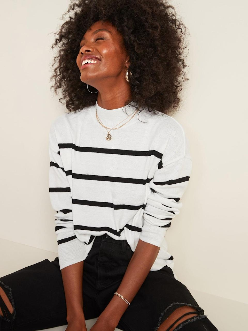 <p>Consider this <span>Cozy Mock-Neck Sweater </span> ($30) a wardrobe staple that you can wear throughout the season.</p>