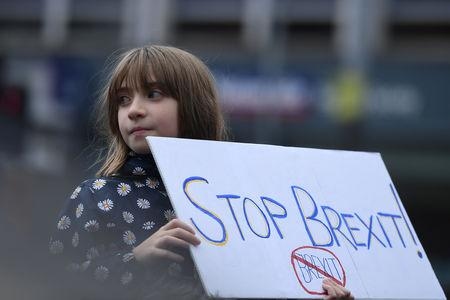 FILE PHOTO: Protesters participate in an anti-Brexit demonstration at City Hall in central Belfast, Northern Ireland October 20, 2018. REUTERS/Clodagh Kilcoyne/File Photo