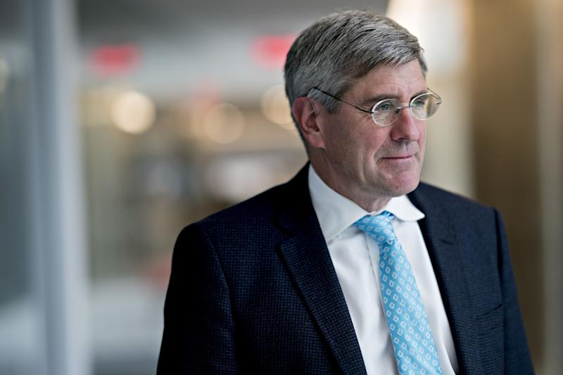 Stephen Moore, visiting fellow at the Heritage Foundation, stands for a photograph following a Bloomberg Television interview in Washington, D.C., U.S., on Friday, March 22, 2019. President Donald Trump said he's nominating Moore, a long-time supporter of the president, for a seat on the Federal Reserve Board. Photographer: Andrew Harrer/Bloomberg via Getty Images