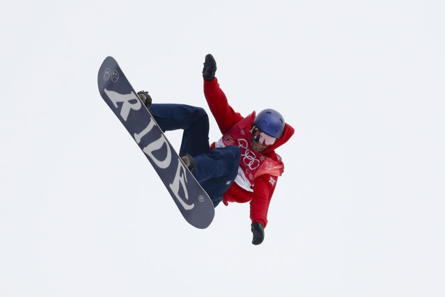 Billy Morgan, of Great Britain, jumps during the men's Big Air snowboard competition at the 2018 Winter Olympics in Pyeongchang, South Korea, Saturday, Feb. 24, 2018. (AP Photo/Matthias Schrader)