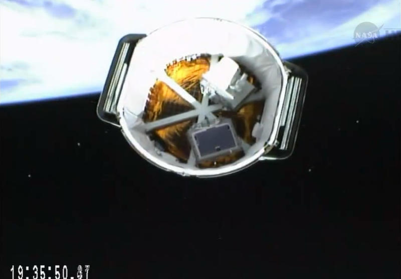 This Friday, April 18, 2014 image made from video shows the aft of the SpaceX Dragon capsule as it separates from the second stage rocket into orbit on its own. The Dragon cargo ship is scheduled to reach the orbiting lab on Sunday, April 20, 2014 - Easter morning. (AP Photo/NASA)