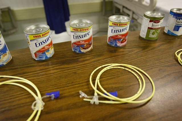 GUANTANAMO BAY, CUBA - OCTOBER 27: Nasal feeding tubes, like those used to feed detainees on hunger strike, sit on display in the hospital at the U.S. military prison for 'enemy combatants' on October 27, 2009 in Guantanamo Bay, Cuba. Although U.S. President Barack Obama pledged in his first executive order last January to close the infamous prison within a year's time, the government has been struggling to try the accused terrorists and to transfer them out ahead of the deadline. Military officials at the prison point to improved living standards and state of the art medical treatment available to detainees, but the facility's international reputation remains tied to the 'enhanced interrogation techniques' such as waterboarding employed under the Bush administration. (Photo by John Moore/Getty Images)
