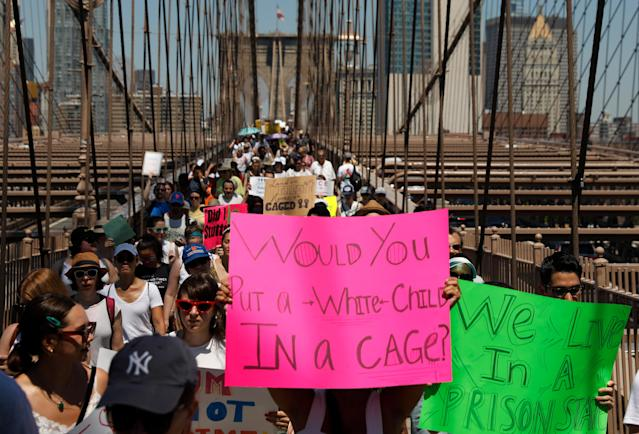 "<p>Demonstrators march on Brooklyn Bridge during ""Keep Families Together"" march to protest Trump administration's immigration policy in New York, June 30, 2018. (Photo: Shannon Stapleton/Reuters) </p>"