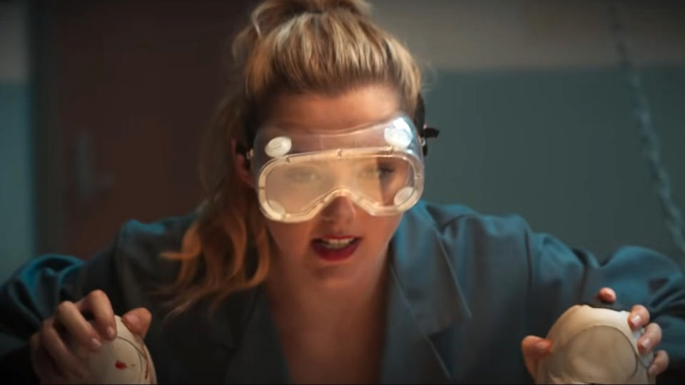Kathryn Newton uses the tools of a woodshop to gruesome effect in 'Freaky'. (Universal Pictures)
