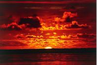 <p>A sunset lights the sky on fire over the lagoon in Bora Bora // February 09, 2016</p>