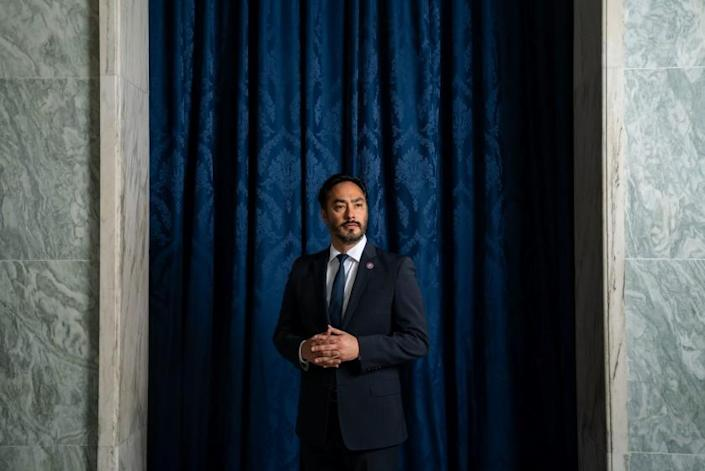 WASHINGTON, DC - MAY 13: Rep. Joaquin Castro (D-TX), poses for a portrait in the Rayburn House Office Building on Thursday, May 13, 2021. (Kent Nishimura / Los Angeles Times)
