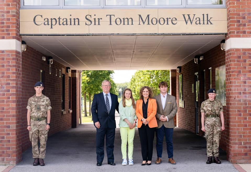 Captain Sir Tom Moore's family at the Army Foundation College in Harrogate, North Yorkshire (PA Wire)