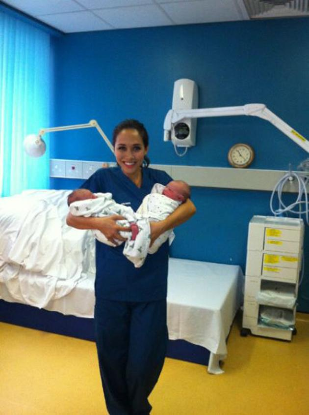 """Celebrity photos: This week, Myleene Klass trained as a midwife for the day. At the end of her experience, she tweeted this picture of her with two of the newborn babies. She posted the image with the caption: """"On midwife duty. OMG my ovaries hurt, I don't wana give them back!"""" [sic]"""