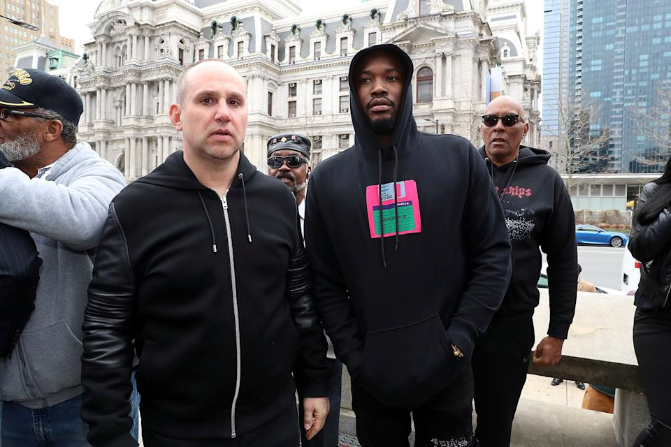 Meek Mill & Michael Rubin at Philadelphia Municipal Services Building. (Getty Images)