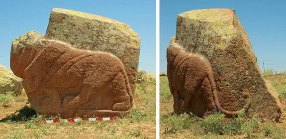 """A life-size granite lion sculpture discovered in the town of Karakiz in Turkey. Dating back more than 3,200 years, to the time of the Hittite Empire, the lion is shown """"prowling forward"""" with rippling muscles and a curved tail. In antiquity the"""