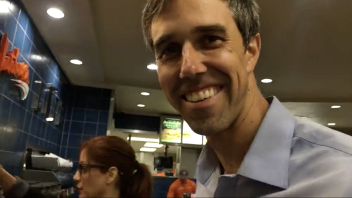 A still from Beto O'Rourke's Facebook Live post from Whataburger.