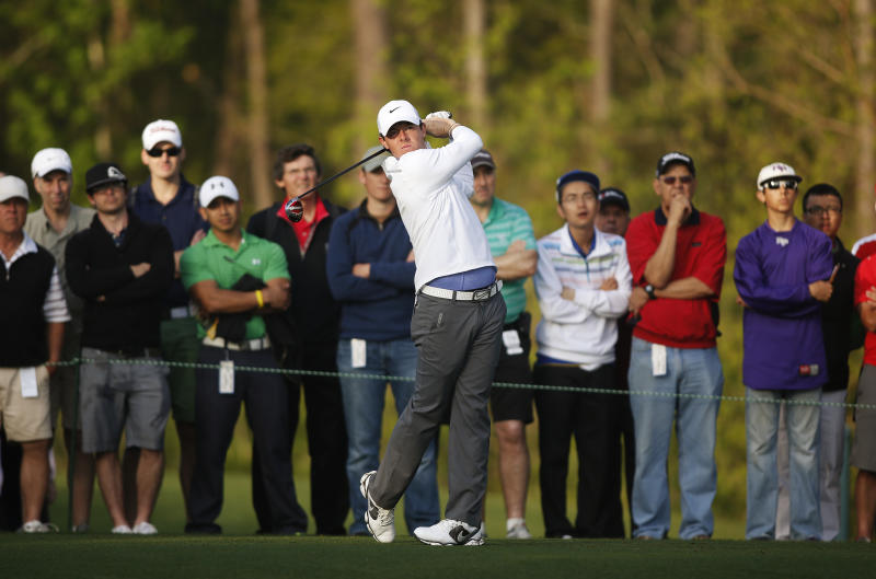 Rory Mcllroy, of Northern Ireland, tees off on the 12th hole during the second round of the Houston Open golf tournament, Friday, March 29, 2013 in Humble, Texas. (AP Photo/Jon Eilts)