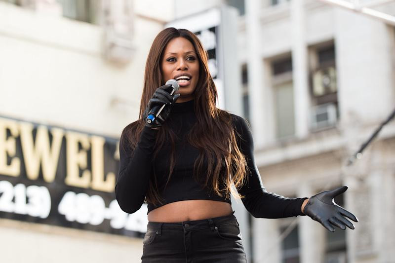 Laverne Cox speaks onstage at the women's march in Los Angeles, California.