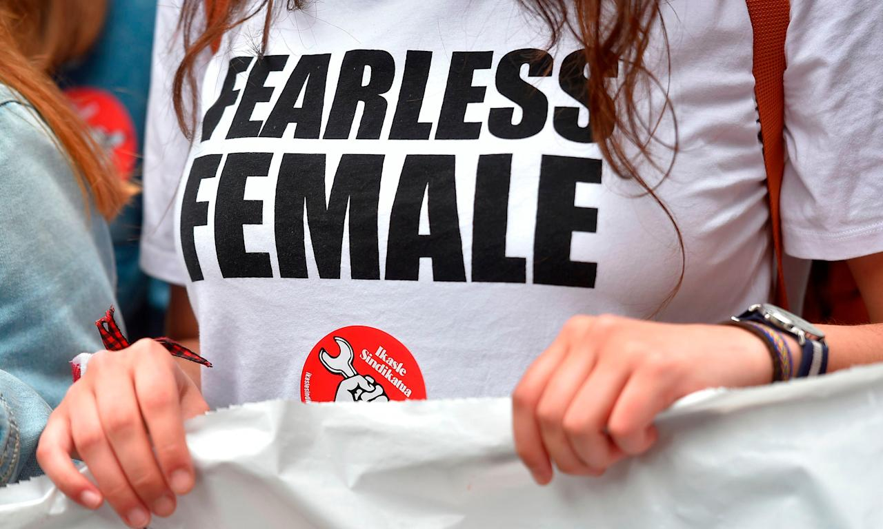 A women's rights protester in Pamplona. The demonstrations sparked by the so-called Wolfpack case are indicative of 'where feminism is in the 21 century', El País said.
