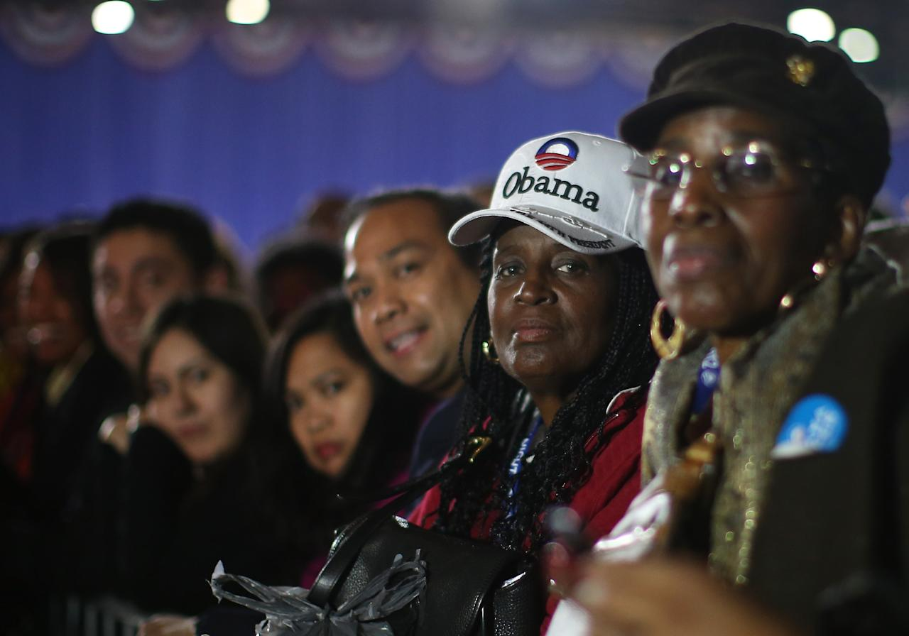CHICAGO, IL - NOVEMBER 06:  Supporters of U.S. President Barack Obama attend the Obama Election Night watch party at McCormick Place November 6, 2012 in Chicago, Illinois. Obama is going for reelection against Republican candidate, former Massachusetts Governor Mitt Romney.  (Photo by Chip Somodevilla/Getty Images)