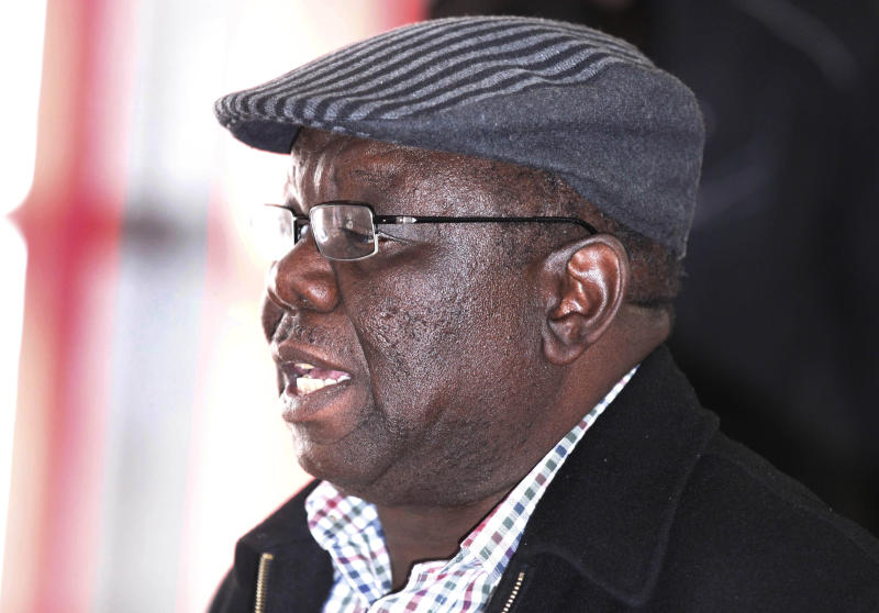 """Zimbabwe's main opposition leader Morgan Tsvangirai in Harare, Thursday, Aug. 1 2013. Tsvagirai said the election is """"null and void"""" due to alleged violations in the voting process, but president Robert Mugabe has denied vote rigging. (AP Photo)"""