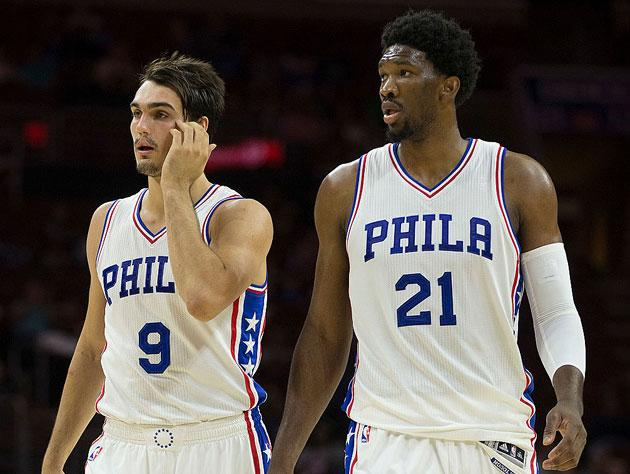 Dario Saric, not Dhani Harrison, and Joel Embiid. (Getty Images)