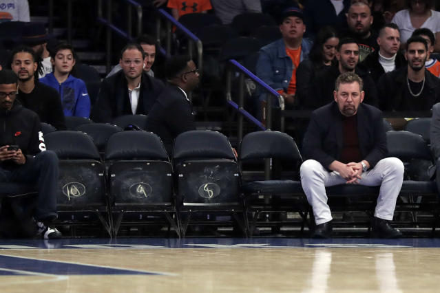 Knicks owner James Dolan is often subjected to chants calling for his ousting. (Adam Hunger/Reuters)