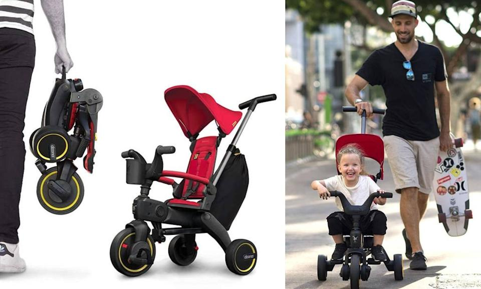 """This tricycle for 10- to 36-month-olds is small enough to fit in a trunk or airplane overhead bin, but is also a total lifesaver for entertaining a toddler around the house.<br /><br /><strong>Promising review:</strong> """"After some considerable research, I set my sights on the 'smallest folding trike on the market.' This three-wheeler will grow with your toddler, from a parent-push-operated vehicle to an independent, pedal tricycle. In that regard, it's a solid two-year investment.<strong>While the Liki is ideal for travel, thanks to the easy and compact way it folds up, it's also handy for apartment living where storage space is at a premium.</strong>The not-too-soft, not-too-hard wheels are perfectly fine on hardwood floors and carpeted hallways. Also, the cup holder and storage bag (that attaches to the adjustable parent handle) are so clutch. Super thoughtful design all around and a super happy little tike riding his trike all around the building."""" —<a href=""""https://www.buzzfeed.com/jmihaly"""" target=""""_blank"""" rel=""""noopener noreferrer"""">John Mihaly</a><br /><br /><strong>Get it from Amazon for<a href=""""https://amzn.to/3nblTMS"""" target=""""_blank"""" rel=""""noopener noreferrer"""">$237.49+</a>(available in three colors).</strong>"""