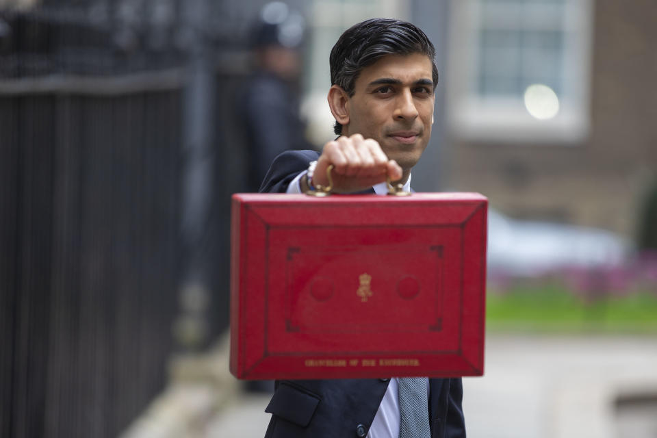 UK chancellor Rishi Sunak with the budget box. Photo: HM Treasury/Flickr
