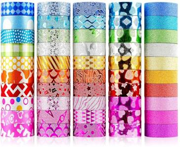 WEfun Glitter Washi Tape decorative bright colors