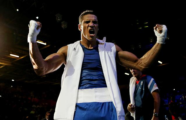 LONDON, ENGLAND - AUGUST 02: Anthony Ogogo of Great Britain celebrates his victory over Levgen Khytrov of Ukraine during the Men's Middle (75kg) Boxing on Day 6 of the London 2012 Olympic Games at ExCeL on August 2, 2012 in London, England. (Photo by Scott Heavey/Getty Images)