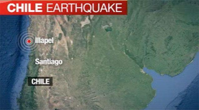A map of the region where the earthquake hit in Chile. Photo: 7 News