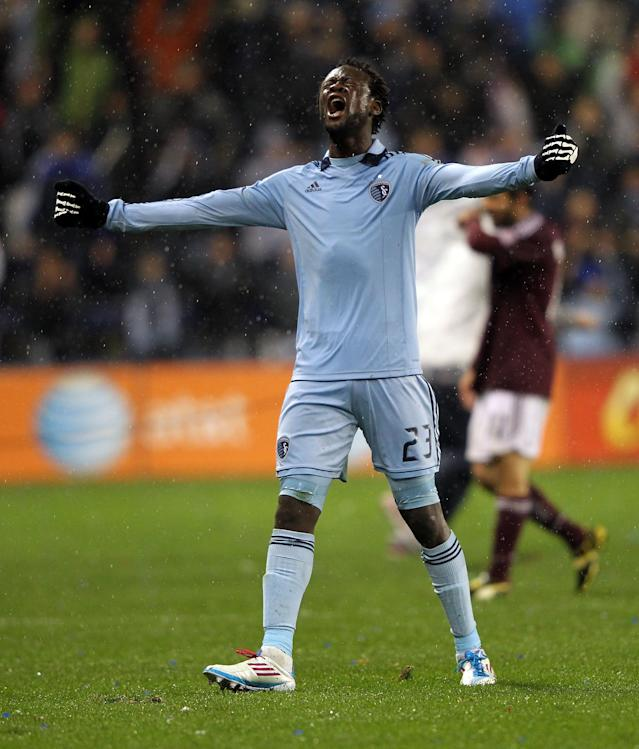KANSAS CITY, KS - NOVEMBER 02: Kei Kamara #23 of Sporting Kansas City reacts after the final whistle as Sporting Kansas City defeats the Colorado Rapids 2-0 to win the MLS playoff game on November 2, 2011 at LiveStrong Sporting Park in Kansas City, Kansas. (Photo by Jamie Squire/Getty Images)