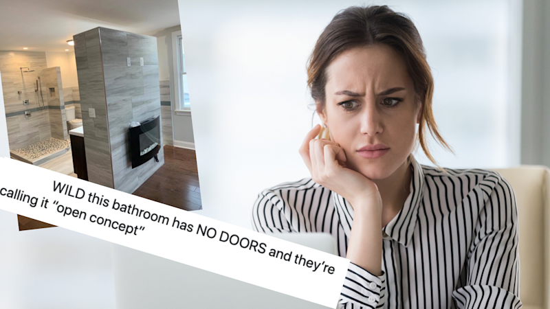 Pictured: Woman looks at computer screen with disgust, Philadelphia rental listing with open-plan bathroom, tweet. Images: Getty, Twitter (the bat man)
