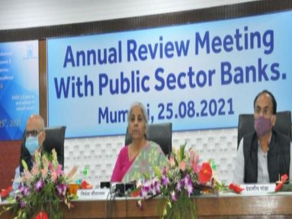 Union Finance Minister Nirmala Sitharaman addressing Annual Review Meeting with public sector banks. (Photo/ANI)