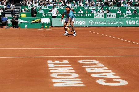 Tennis - ATP 1000 - Monte Carlo Masters - Monte-Carlo Country Club, Roquebrune-Cap-Martin, France - April 17, 2019 Spain's Rafael Nadal in action during his second round match against Spain's Roberto Bautista Agut REUTERS/Eric Gaillard