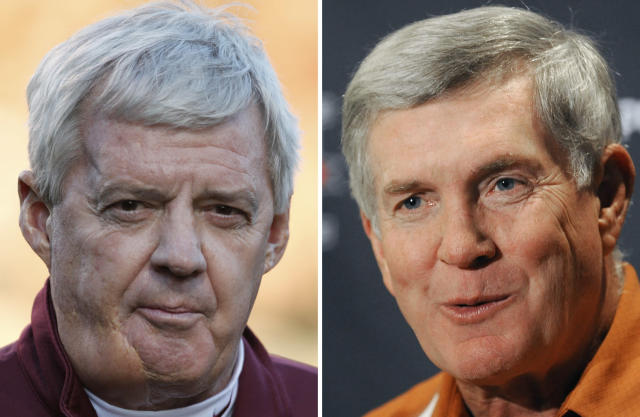 "Virginia Tech coach Frank Beamer and former Texas coach <a class=""link rapid-noclick-resp"" href=""/nfl/players/29085/"" data-ylk=""slk:Mack Brown"">Mack Brown</a> are among the 2018 College Football Hall of Fame class. (AP Photo/File)"