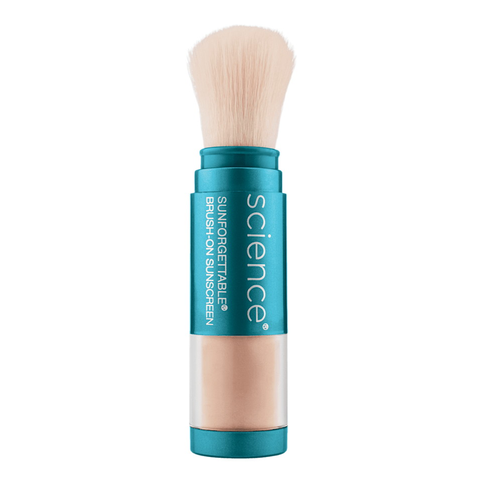 """<p>Dr. Halim is a big fan of the <span>ColorScience Sunforgettable Total Protection Brush-On Shield SPF 50</span> ($69) because it's """"convenient and won't weigh the hair down,"""" as it features an all-powder formula that's a good one to consider when trying to avoid adding extra oils or grease to the hair.</p>"""