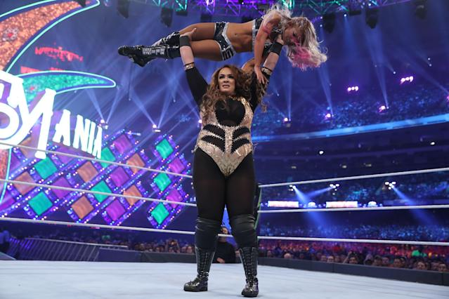 WWE superstar Nia Jax competes against Alexa Bliss for the Raw women's championship at WrestleMania 34 in New Orleans, La. (Photo courtesy of WWE)