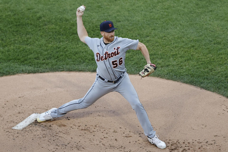 Detroit Tigers starting pitcher Spencer Turnbull (56) delivers against the Chicago White Sox during the first inning of a baseball game, Friday, June 4, 2021, in Chicago. (AP Photo/Kamil Krzaczynski)