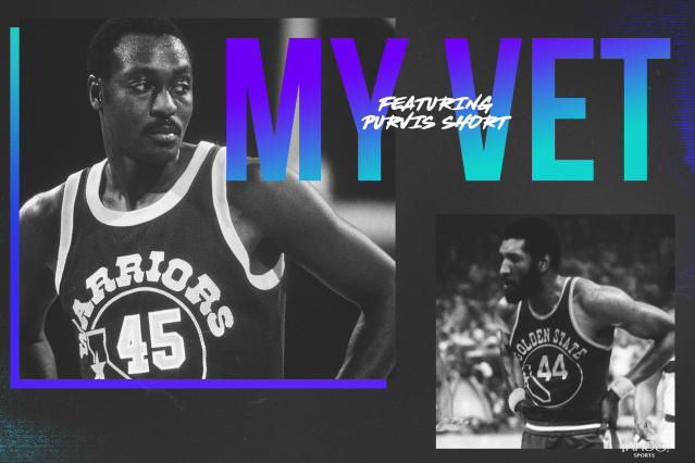 "Former <a class=""link rapid-noclick-resp"" href=""/nba/teams/golden-state/"" data-ylk=""slk:Golden State Warriors"">Golden State Warriors</a> star Purvis Short credits his NBA mentors, including Clifford Ray. (Graphics by Amber Matsumoto)"