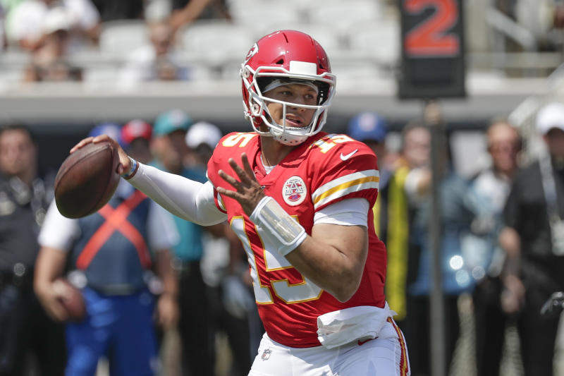 It didn't take long for Kansas City Chiefs quarterback Patrick Mahomes to throw his first touchdown pass of the season. (AP)