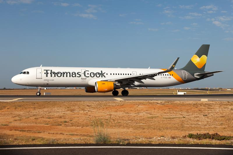 FARO, ALGARVE, PORTUGAL - 2019/08/31: A Thomas Cook Airlines Airbus 321 on the move at Faro airport. (Photo by Fabrizio Gandolfo/SOPA Images/LightRocket via Getty Images)