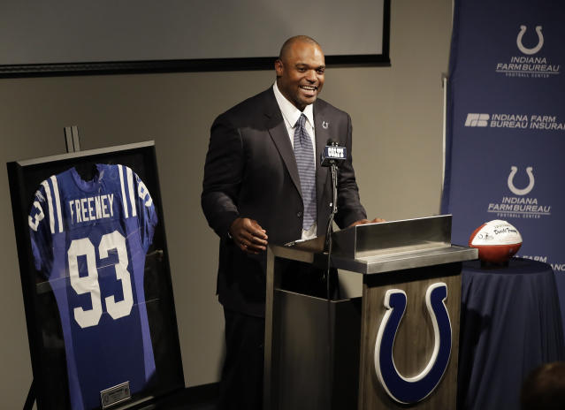 Former Indianapolis Colts player Dwight Freeney speaks during a news conference at the NFL football team's practice facility, Monday, April 23, 2018, in Indianapolis. Freeney retired as an Indianapolis Colt after 16 years in the league. (AP Photo/Darron Cummings)